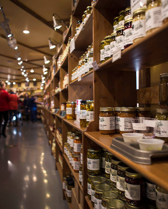 Fly creek mill and orchard, view of shelves with goods and samples.