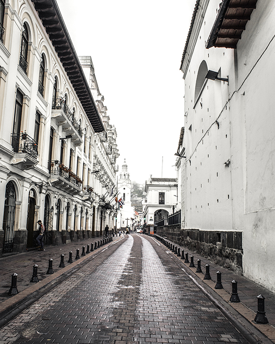 A view of quito, ecuador street, white, early morning taken on ecuador vacation