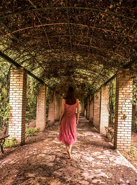 A woman (me) walking away from camera inside the National Gardens of Athens.  She is walking in a long, open air hallway and vines serve as the ceiling.   Athens greece what to do in greece