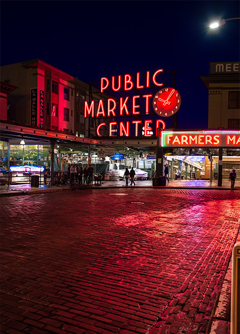 things to do in seattle - pike place market at night