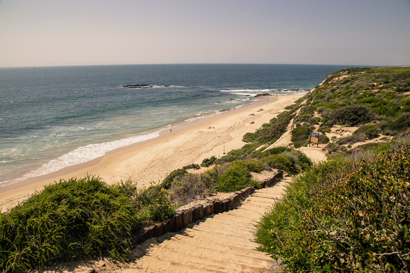 crystal cove state park, stairs leading to the beach, ocean in the background.