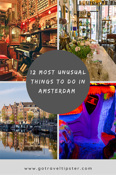 Are you visiting Amsterdam soon?  Here are our favorite weird, quirky and off the beaten path things to do in Amsterdam.  From helping to clean up the canals to tripping out in the smallest museum in Amsterdam, and the tallest swing in Europe, we scoured the city for the weird, unusual and the cool.  Whether you are in Amsterdam for a week or 24 hours, don't miss these crazy experiences.