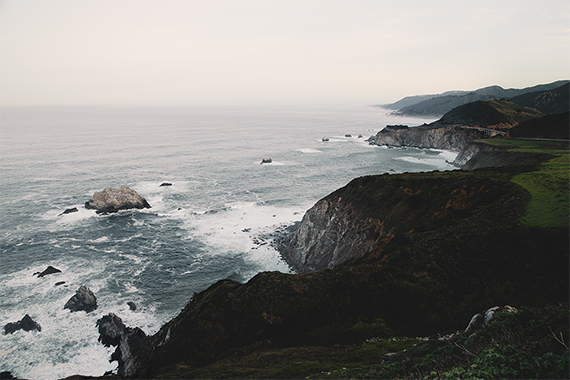 mountains and ocean as seen on the pacific coast highway