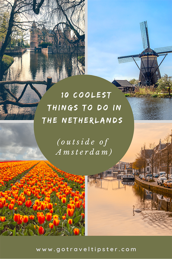 Ideas for things to do in the Netherlands including day trips from Amsterdam, road trip ideas, beautiful destinations to explore with a family and as a couple and more.  Includes tulip fields and the flower route, a hidden castle and Kinderjik, where you can see  see windmills without all the crowds.