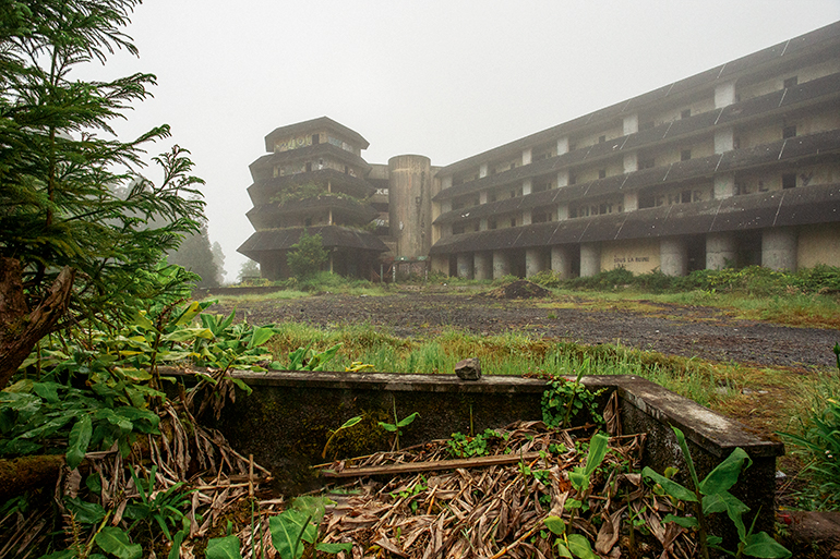 The abandoned Hotel Monte Palace structure.