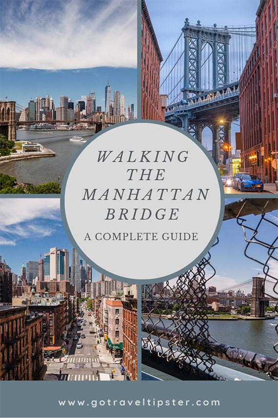 A Pinterest friendly graphic for walking the Manhattan Bridge.
