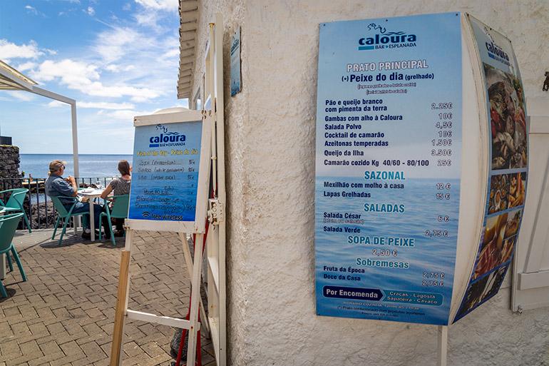 The menu from Bar Caloura