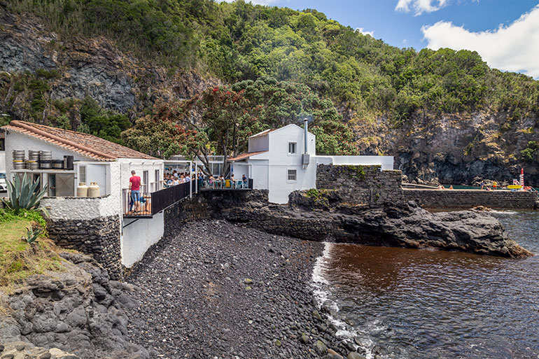 The view of bar Caloura with water in the front