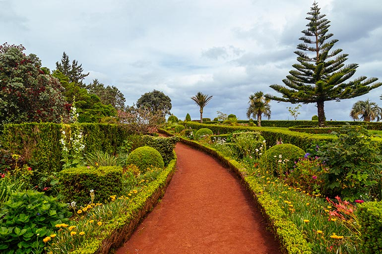 A wide path lined with trees and flowers in Ponta do Sossego