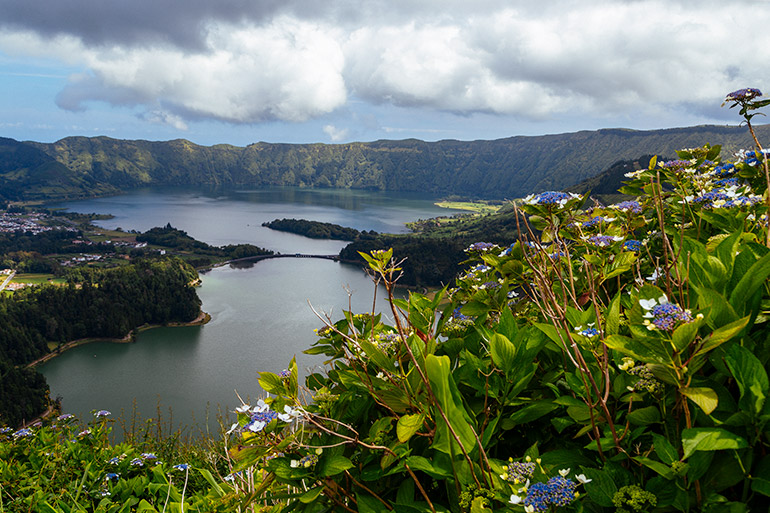 The view of the two lakes, flowers in the forefront.