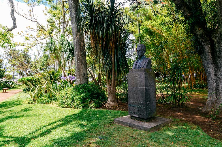 The silhoute bust of Antonio Borges, in Sao Miguel, Azores.