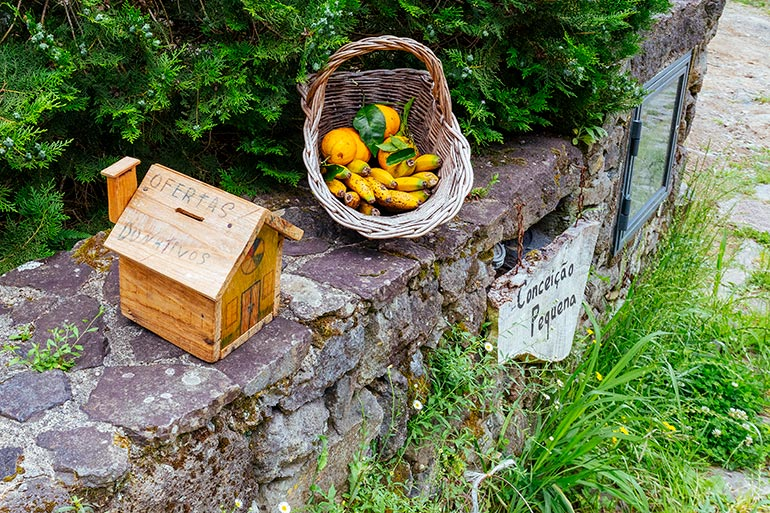 Oranges and bananas in the basket next to a donation box in the village of Sanguinho