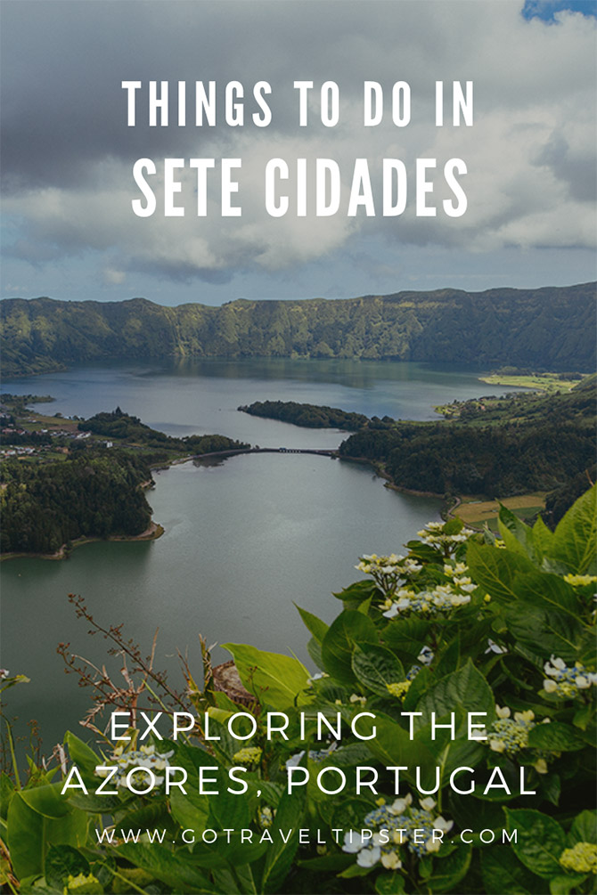 Explore the beautiful parish of Sete Cidades in Sao Miguel, Azores.  Includes best things to do including Vista Do Rei.  Hike down to the Lagoa Sete Cidads via the full day Mata Do Canario trail.  And tour the pretty village of Sete Cidades.  Includes a downloadable map and travel tips.  #azores #saomiguel #portugal