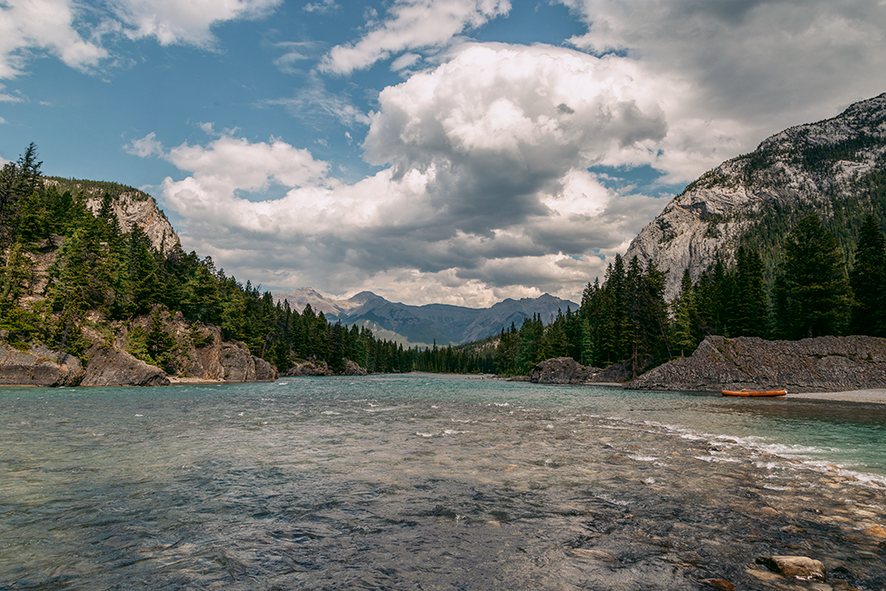 Bow river, the source of Bow Falls.