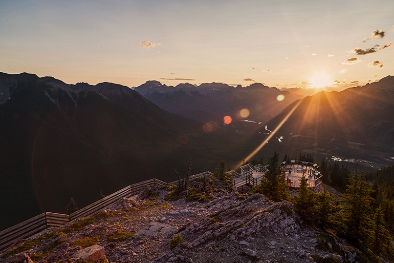 Banff Gondola sunset views from Sanson peak.