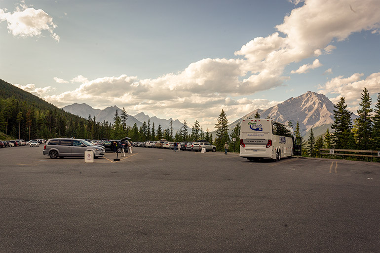 The parking lot at Banff Gondola