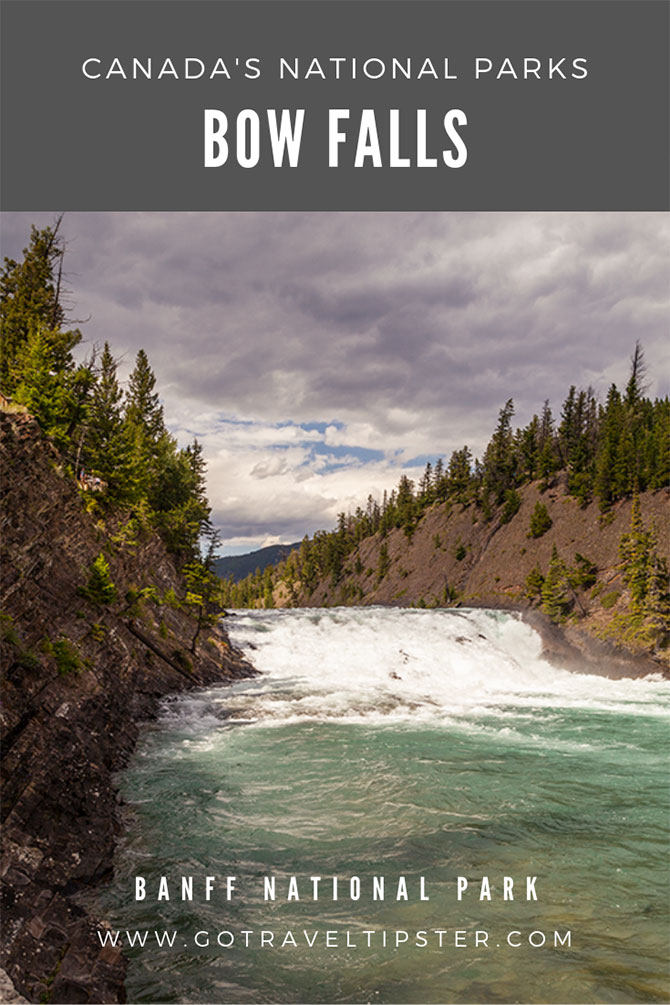 Bow Falls in Banff National Park, a Pinterest friendly graphic.