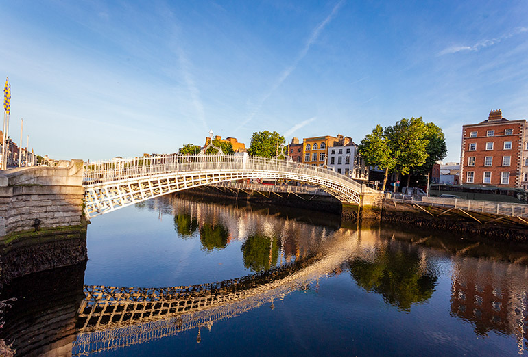The small but intricate Ha'ppenny Bridge in Dublin, Ireland.
