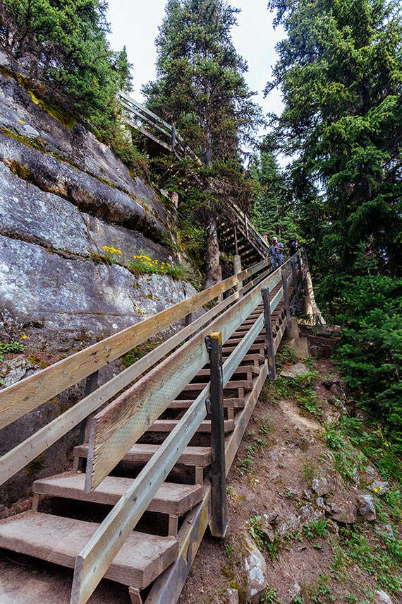 The stairs to Lake Agnes Tea House, Banff National Park.