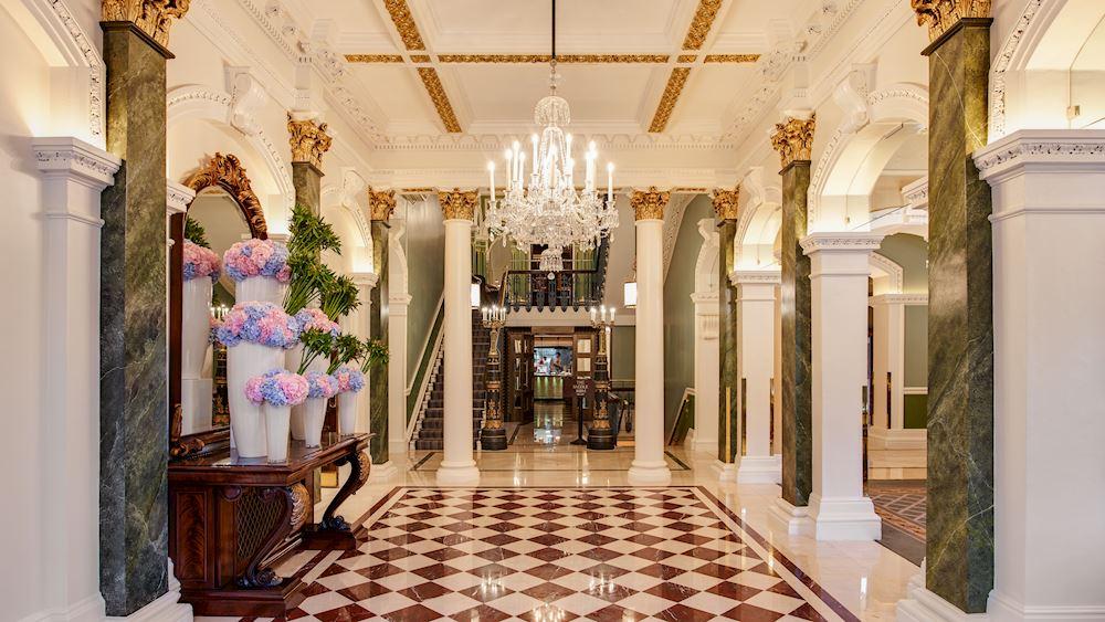The lobby in Shelbourne Hotel, Dublin.