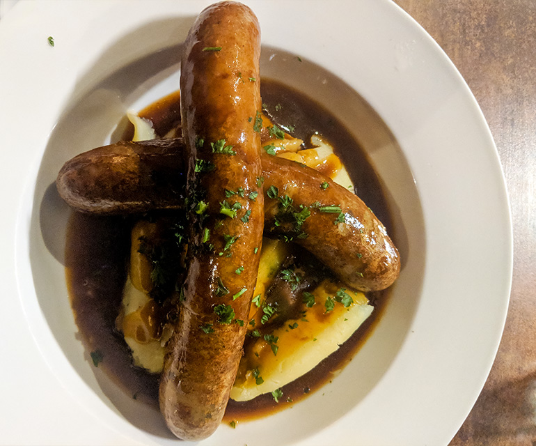 Sausage and mashed potatoes in the Lotts.