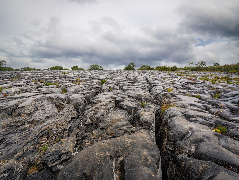 Ancient, bare limestone is a typical landscape in the Burren national park.