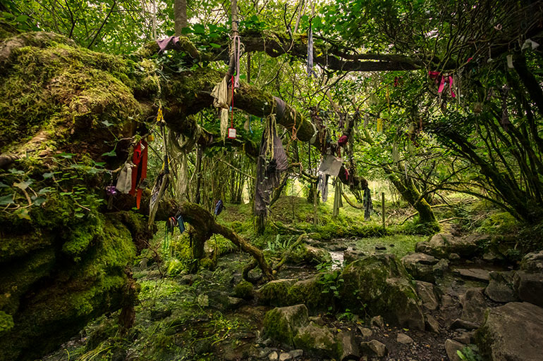 A fairy fort with memorabilia left by travelers.