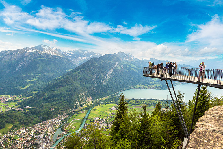 The Harder Kulm Funicular viewpoint in Interlaken, Switzerland.