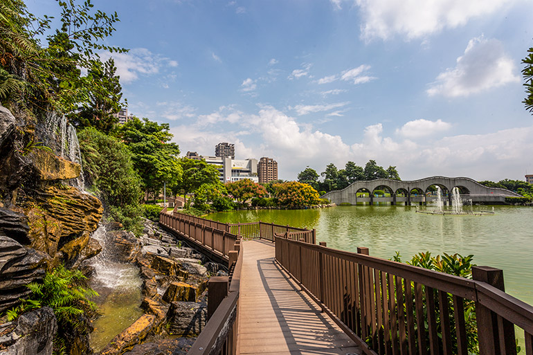 A walkway in Fengle Sculpture Park - things to do in Taichung.