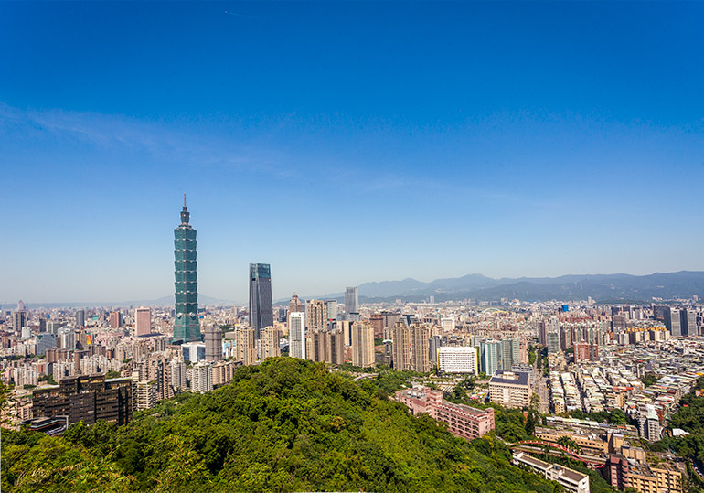Taipei 101 and the rest of the Taipei skyline from Elephant Mountain.