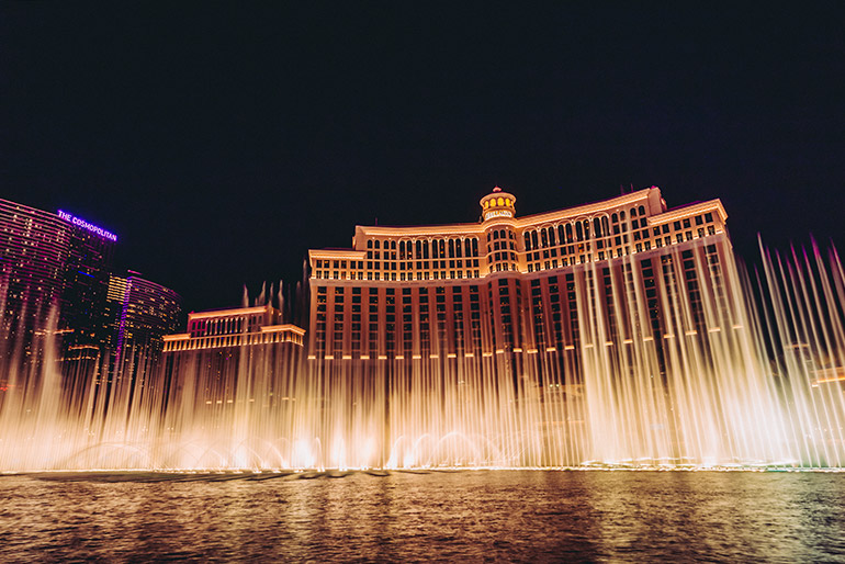The dancing fountains of Bellagio, Day 1, Las Vegas Itinerary