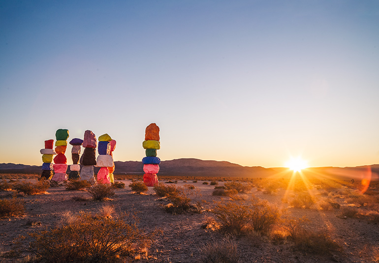 Seven Magic Mountains in the rising sun, half an hour drive from Las Vegas
