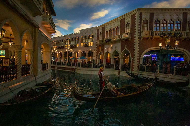 A gondola in the Venetian's river - 7 day Las Vegas Itinerary