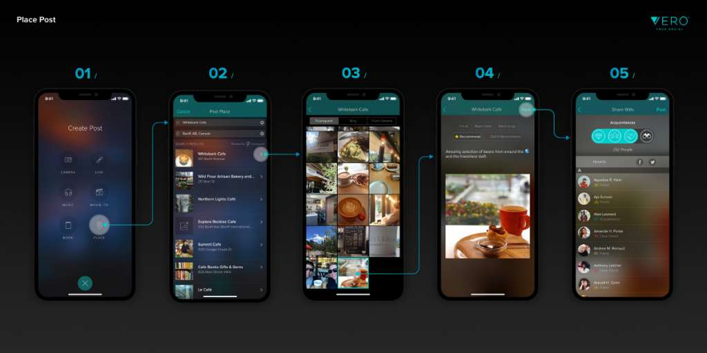 How to share a place on Vero True Social