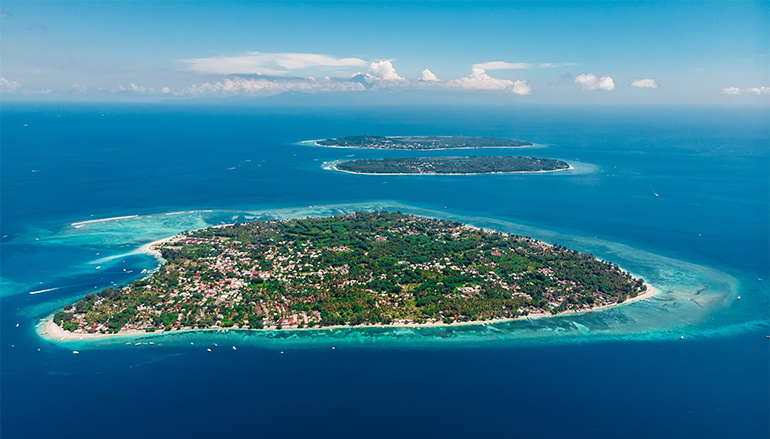 The aerial view of the three Gili islands in Lombok.