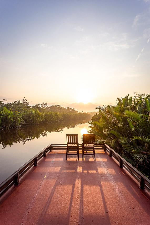 Orangutan safari in Indonesia, Borneo.  The safari boat at sunrise.