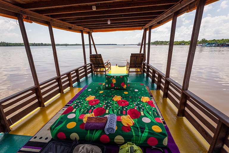 The middle deck of the boat on an orangutan safari in Tanjung Puting National Park.