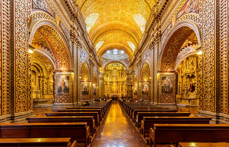The spectacular interior of the Church of the Society of Jesus, Quito