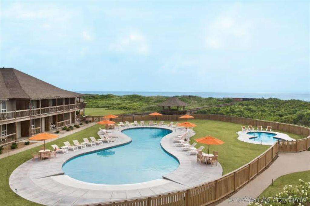 Oceanfront resort with pool on the outer banks of North Carolina.