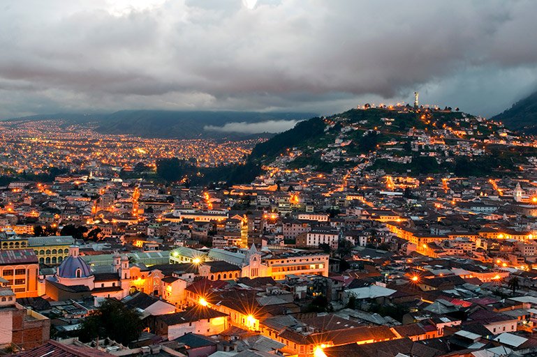 Downtown Quito at night as viewed from a hotel on Ecuador vacation