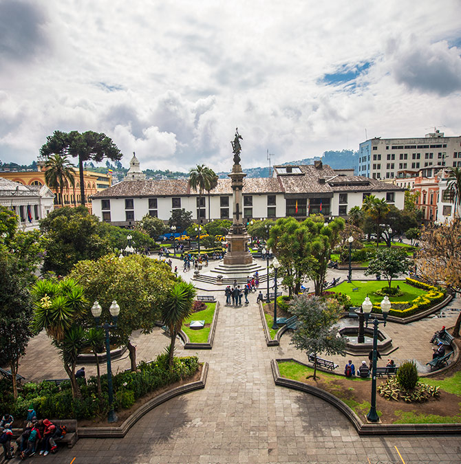 The view from the presidential balcony in Quito on Ecuador vacation.