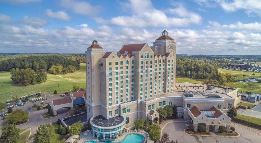 The tall buildings of Grandover North Carolina golf and spa resort.