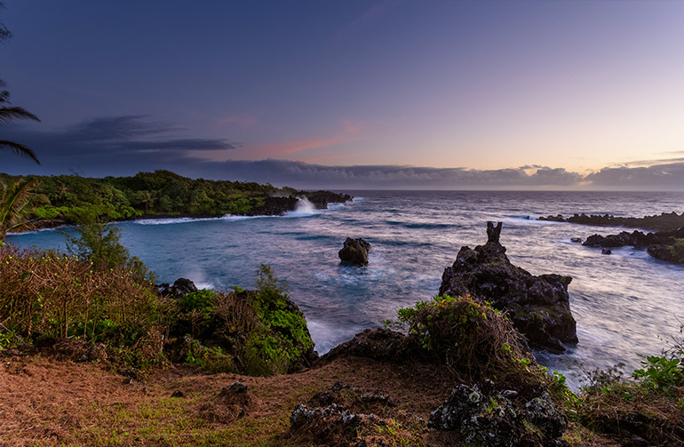 Sunrise in the Waianapanapa State Park, on the Road to Hana.