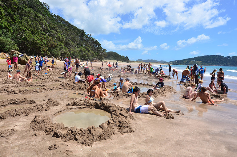 Hot water beach on North Island in New Zealand.