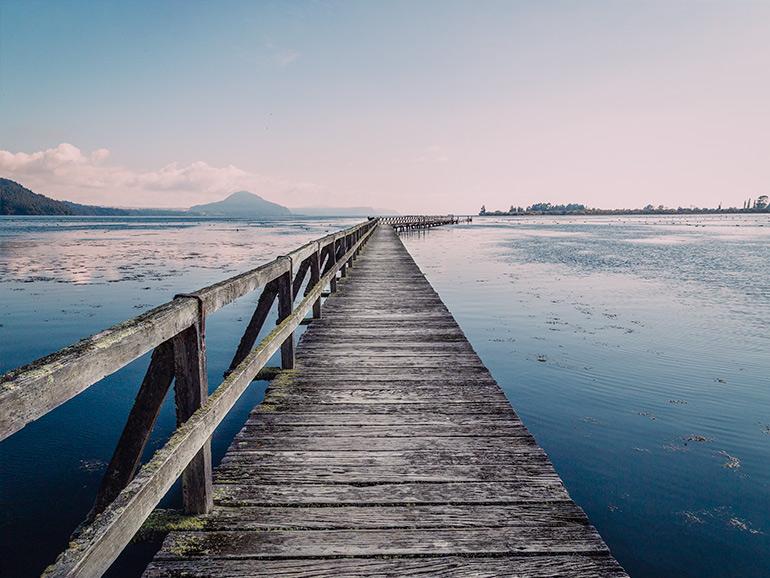 Tookanu Wharf on Lake Taupo, New Zealand.