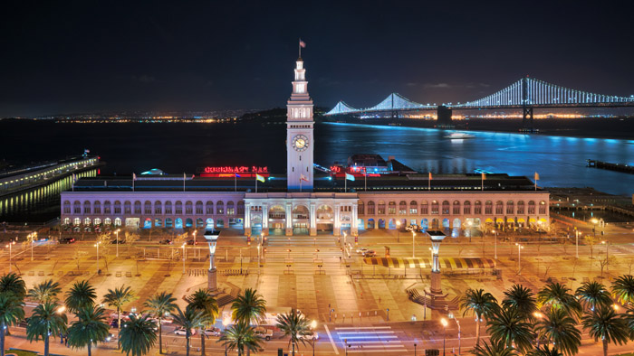 Ferry Building in San Francisco At Night